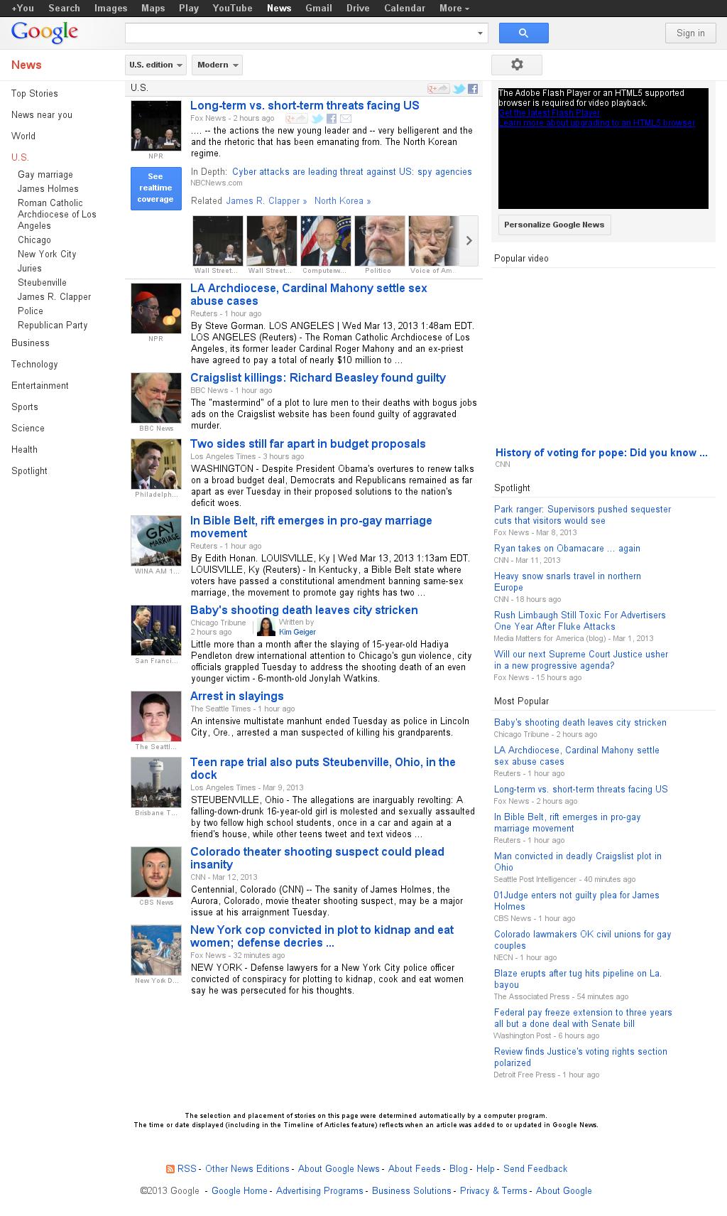 Google News: U.S. at Wednesday March 13, 2013, 7:08 a.m. UTC