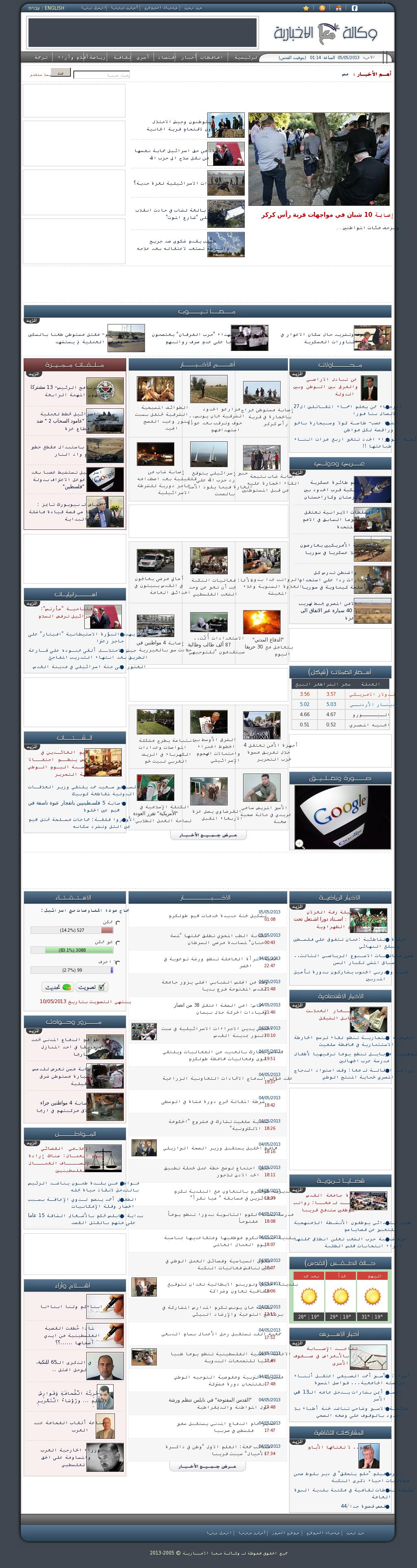Ma'an News at Saturday May 4, 2013, 10:14 p.m. UTC